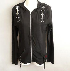 Royal Bones Black Hoodie w Safety Pins